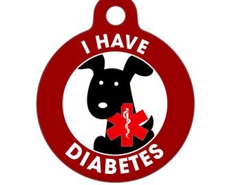 Pet ID Tag - I Have Diabetes Dog Medical ID Tag - Medical Alert Tag, Pet Tag, Child ID Tag, Dog Tag, Cat Tag
