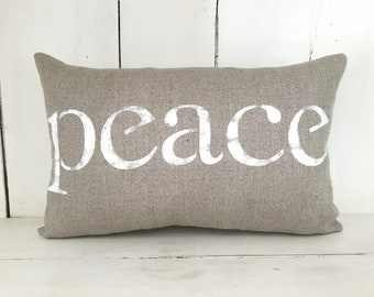 Decorative pillows, linen pillow, peace, farmhouse pillows, grey pillows, farmhouse, peace pillow, word pillow, inspirational