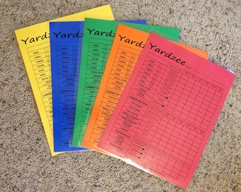 5-pack COLOR Yardzee, Yahtzee and Farkle Double-Sided Dry Erase Score Sheet, Erasable and Reusable - Laminated 8-1/2x11 Cardstock
