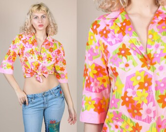 70s Floral Blouse - Large // Vintage Pink Collared Button Up Shirt 3/4 Sleeve Shirt