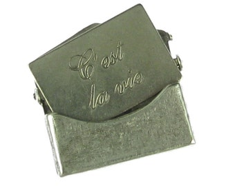 2 Sets Small Antique Silver Brass Textured C'est La Vie Letter Envelope Finding 746TC