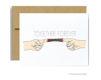 Together forever anniversary card - chinese finger trap funny love valentines day greeting card purple kraft white a2