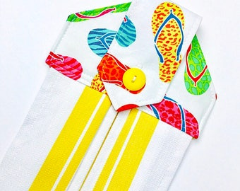 Summer hanging hand towels, shoe towels, flip flop hand towel, summer kitchen towels, spring towels, yellow hand towels, button towels