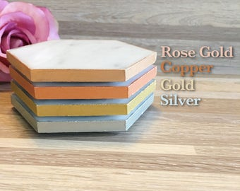 Hexagon Italian Carrara Marble Coasters Set of 4 Gold , Copper, Rose Gold, Silver Edged Hand Painted
