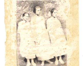 Ghostly Girls - Pencil Drawing - Antique Tissue Paper