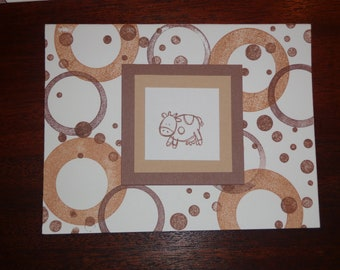 Set of 5 blank note cards featuring a Spotted Brown Cow