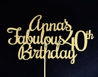 ANY NAME & NUMBER Fabulous Birthday Cake Topper, Glitter Cake Topper, Customized Birthday Cake Topper, Fabulous Birthday Cake, Personalized