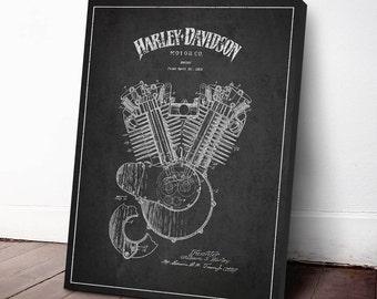 1919 Harley Davidson Engine Patent, Harley Davidson Canvas Print, Harley Davidson Wall Art, Harley Davidson Home Decor, Gift Idea, TRBM05C