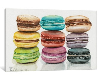 iCanvas 9 Macarons Gallery Wrapped Canvas Art Print by Jennifer Redstreake