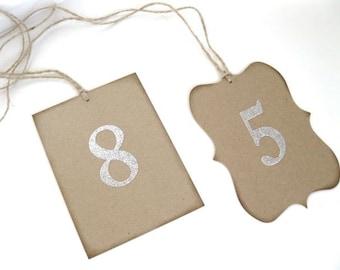 Wedding Kraft Table Numbers- 1 - 20-pick number color-wedding ceremony, wedding decor, rustic wedding, wedding ceremony, wedding dinner