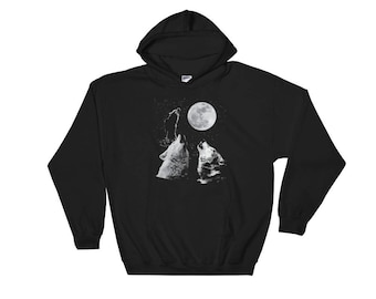 Three Wolf Moon Hooded Sweatshirt // Full Wolf Moon Night Hoodie // Wolf Gift Hoodie // Wolves Howling At The Moon Hoodie