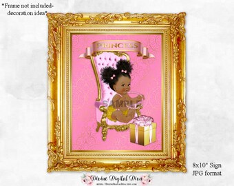 Pink & Gold 8 x 10 Display Sign | African American Vintage Baby Girl Chair Afro Puffs | Digital Instant Download