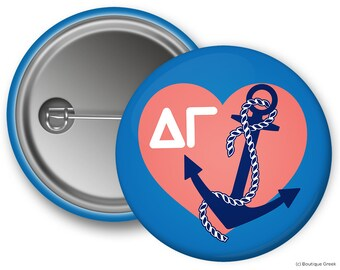 DG Delta Gamma Heart Anchor Sorority Greek Button