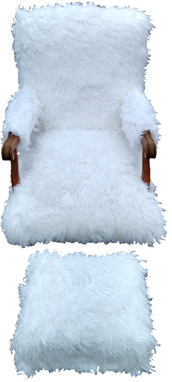 Large Faux Fur Accent Chair and Ottoman