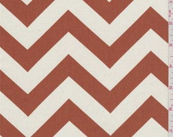 Zig Zag Rust Orange Poplin, Fabric By The Yard