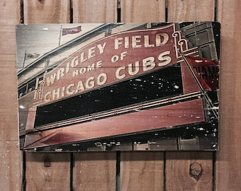 Wrigley Field - Cubs Photo on wood - 11x17 - Cubs Wall Art - Chicago Cubs Wall Art - Cubs Sign