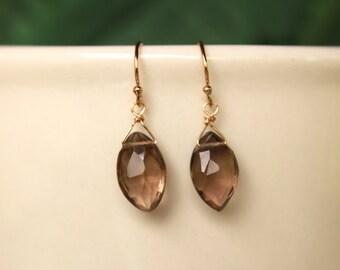 Smoky Topaz Earrings, November Birthstone, Brown Gemstone, Simple Earrings, Drop Earrings, Dangle Earrings, Smoky Topaz, Minimalist Earrings