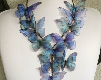 Iridescence - Handmade Morpho Blue Silk Organza Butterflies Necklace, Statement Necklace - One of a Kind