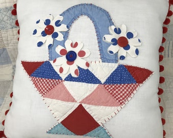 Vintage Quilt Piece Pillow, Basket with Quilt Piece Daisies, with Pom Pom Fringe