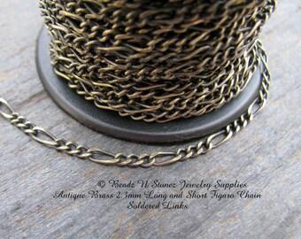 5 Feet - Quality Antique Brass 2.3mm Long Short Figaro Bulk Chain