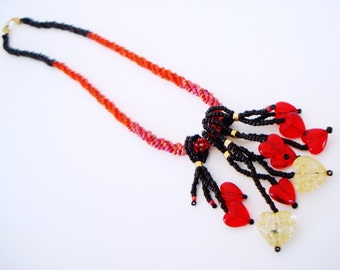 Beaded Heart Charms Necklace red black and gold twisted herringbone spiral seed bead rope romantic love statement necklace