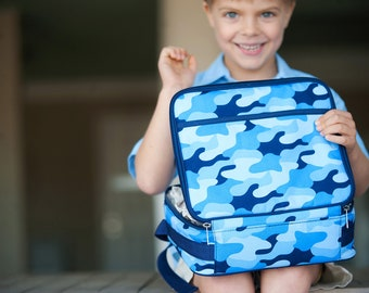 Embroidered Personalized Lunch Box   Cool Camo