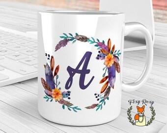 Floral Monogram Coffee mug, Initial Mug, Personalized Coffee Mug, Custom Mug, Monogram Mug, Floral mug, Watercolor Ceramic, Floral, CM-022