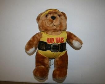 Rare WWF WWE 1988 Titan Sports Hulk Hogan Teddy Bear Free Shipping