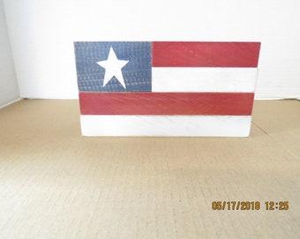 Patriotic red white and blue blocks flag