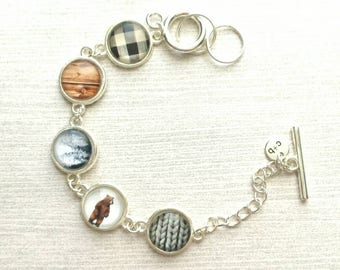 Winter Plaid Bracelet - silver charm adjustable toggle - wood lodge theme bear flannel check tree snow grey sweater cable knit gift for her