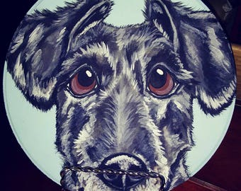 Custom Pet Portrait on wood circle plaque - handpainted