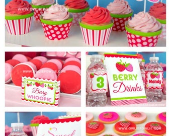Strawberry BIRTHDAY Party Printable Package & Invitation, INSTANT DOWNLOAD, You Edit Yourself with Adobe Reader