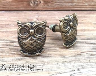 SET OF 2 Owl Knobs Antique Bronze Owl Drawer Pull - Cabinet Knob - Furniture Hardware Drawer Pull - Decorative Knob - Bird Owl Nursery Decor