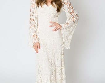 Vintage-Inspired Bohemian Wedding Gown. BELL SLEEVE LACE Crochet Ivory or White Hippie Wedding Dress. Boho Embroidered Maxi Lace Dress