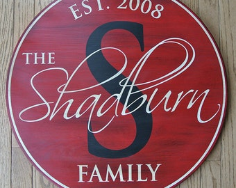 "36"" Family Established Sign - Personalized Name Monogram Sign - Painted Wood Sign - Wedding Anniversary Gift - Est. Date - Custom Gift"