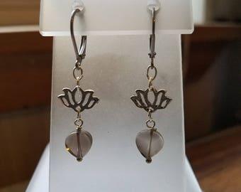 Smoky Quartz Hearts and Lotus Steel Leverback Dangle Earrings