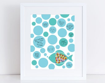 "fish signature guest book 10x8"" print baby shower new baby or birthday boy girl nursery art blue bubbles fishing rainbow"