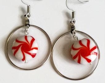 Peppermint Earrings, Red & White, Swirl, Candy Earrings