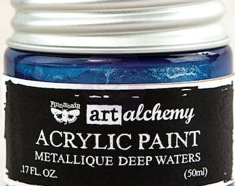Finnabair Art Alchemy Metallique Prima Metallic Acrylic Paint 1.7 oz  DEEP WATERS Blue #963118