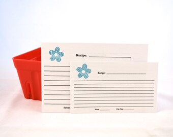 Recipe Cards set of 20 - Dotted Flowers