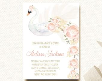 Woodland Baby Shower Invitation Swan Invitation Swan Lake Floral Baby Shower DIY Printable Sip and See Invitation