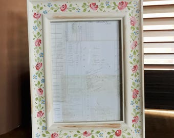 Hand painted photo frame - Rose - altered picture frame