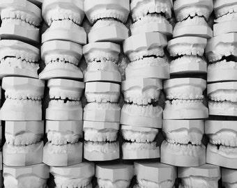 Creepy Vintage Dental teeth molds - old dentist tooth mold - articulated dental mold sets - Halloween vintage dental prop oddity dental