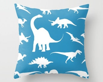 Dinosaurs Pillow Cover - Dinosaurs Decor - Blue Pillow With Insert - Boy Bedroom Decor - Dinosaur Cushion Cover - Accent Pillow
