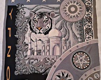 "Vintage Authentic Otto Kern YPNO Logo Astrology Taj Mahal Gray Silk 40""Square Scarf"