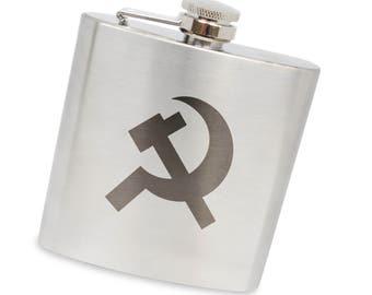 Communist 6 Oz Flask, Stainless Steel Body, Handmade In Usa