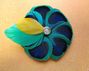 ADDIE Peacock Feather cheveux Clip