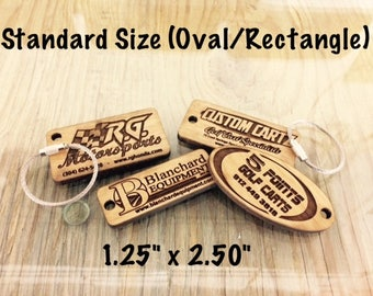 "Custom Wooden Key Chains - Standard Size - 1.25"" x 2.50"""