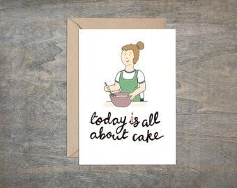 Cartoon birthday card - card for a friend - thank you card - illustration - greetings card - friend card -  illustrated card - birthday cake