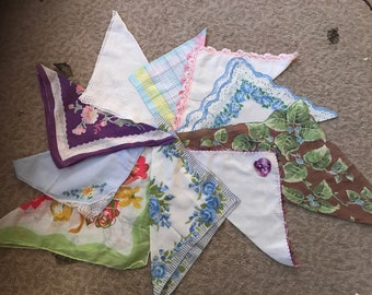 Collection of 10 vintage hankies / handkerchiefs in assorted colors, styles, and sizes. #929